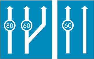 Ελάχιστα όρια ταχυτήτων ανά λωρίδα κυκλοφορίας.