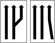 Αριθμός και κατευθύνσεις κυκλοφοριακών λωρίδων.