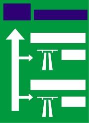 Προειδοποιητική κατευθύνσεων εισόδου σε αυτοκινητόδρομο από δευτερεύουσα οδό μέσω ανισόπεδου κόμβου.