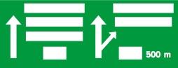 Γέφυρα σήμανσης με αναγραφή κατευθύνσεων προ ανισόπεδου κόμβου (αποκλειστικά για αυτοκινητόδρομο).