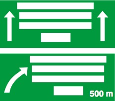 Γέφυρα σήμανσης με αναγραφή κατευθύνσεων προ ανισόπεδου κόμβου με αφαίρεση λωρίδας του αυτοκινητοδρόμου.