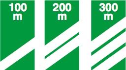 Προειδοποιητικές εξόδου από τον αυτοκινητόδρομο σε αποστάσεις 100, 200, 300 μέτρα, αντίστοιχα