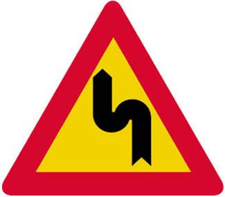 Επικίνδυνες δύο αντίρροπες ή διαδοχικές (συνεχείς) στροφές, η πρώτη αριστερά.