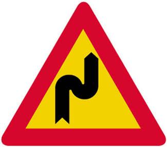 Επικίνδυνες δύο αντίρροπες ή διαδοχικές (συνεχείς) στροφές, η πρώτη δεξιά.