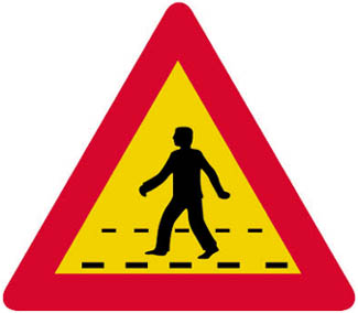 Κίνδυνος λόγω διάβασης πεζών.