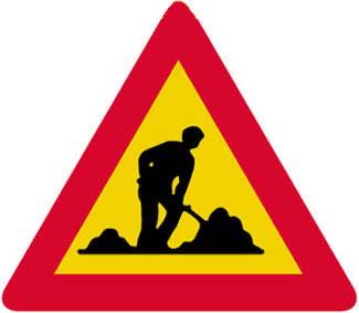 Κίνδυνος λόγω εκτελουμένων εργασιών στην οδό.