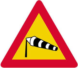 Κίνδυνος λόγω συχνού ισχυρού ανέμου (όπως δείχνει η κατεύθυνση του ανεμουρίου).