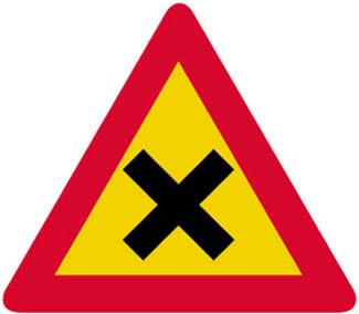 Προσοχή, διασταύρωση όπου ισχύει η προτεραιότητα από δεξιά.