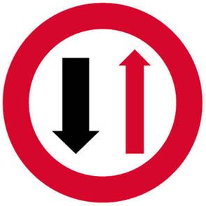 Προτεραιότητα της αντιθέτως ερχόμενης κυκλοφορίας (λόγω στενότητας οδοστρώματος).