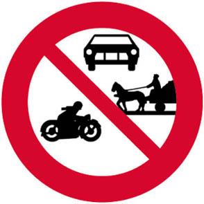 Απαγορεύεται η είσοδος σε οχήματα ορισμένων κατηγοριών (π.χ. σε μηχανοκίνητα και ζωήλατα οχήματα).