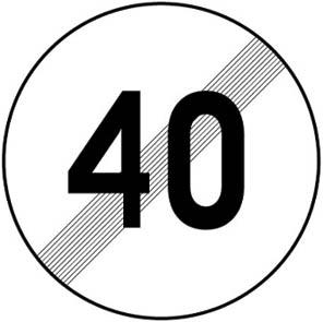 Τέλος ορίου ταχύτητας το οποίο έχει επιβληθεί με απαγορευτική πινακίδα (π.χ. 40 χλμ.) την ώρα.