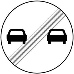Τέλος απαγόρευσης προσπεράσματος το οποίο έχει επιβληθεί με απαγορευτική πινακίδα.