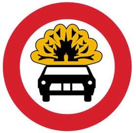 Απαγορεύεται η είσοδος σε οχήματα που μεταφέρουν πάνω από ορισμένη ποσότητα εκρηκτικών ή εύφλεκτων υλών.