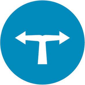 Υποχρεωτική κατεύθυνση πορείας με στροφή αριστερά ή δεξιά.