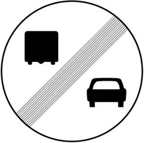 Tέλoς απαγόρευσης πρoσπεράσματoς από φoρτηγά αυτoκίνητα, πoυ έχει επιβληθεί με απαγoρευτική πινακίδα.