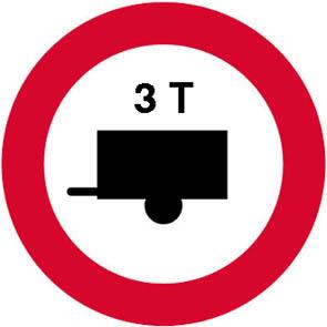 Απαγορεύεται το ρυμουλκούμενο όχημα να έχει βάρος μεγαλύτερο από (π.χ. 3) τόνους.