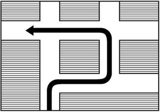 Προειδοποιητική υποχρεωτικής διαδρομής για στροφή αριστερά στην επόμενη διασταύρωση.